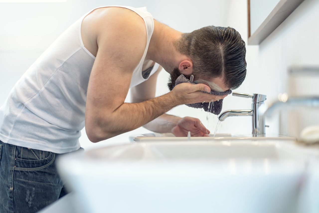 Man Washing Face with Cleansing Oil from The Mod Cabin